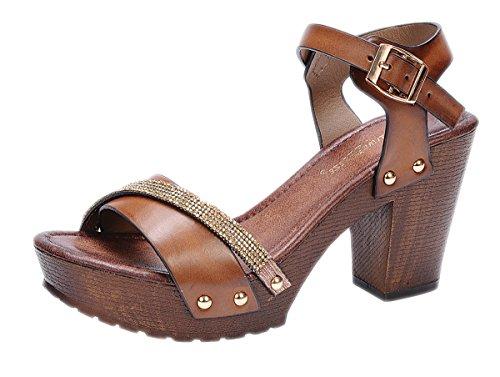 Nature Breeze Women's Vint-02 Buckle Comfort Medium Chunky Wooden Heel Sandal (8 B(M) US, Tan) - Wooden Retro Rocker