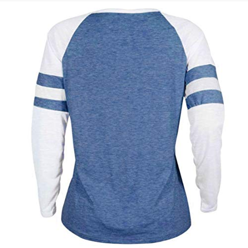 Fashion Rond Imprime Manches Blouse Shirts Shirts Pulls Tees et Jumpers Chandail Col Longues Bleu3 Printemps Automne Tops T Patchwork Sweat Femmes Hauts Cqn6OX