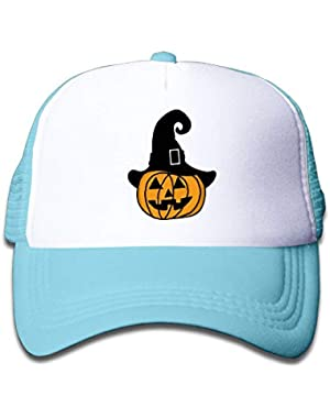 Pumpkin with Witch Hat2 On Kids Trucker Hat, Youth Toddler Mesh Hats Baseball Cap