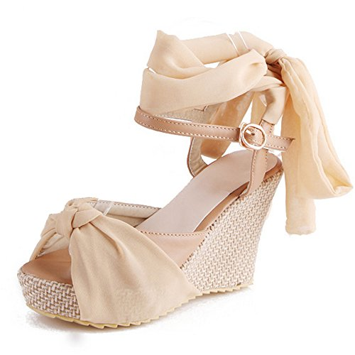 Sexy Wedges Heels Bow Ladies Shoes LongFengMa apricot High Sandals Ribbon UnFYddXR