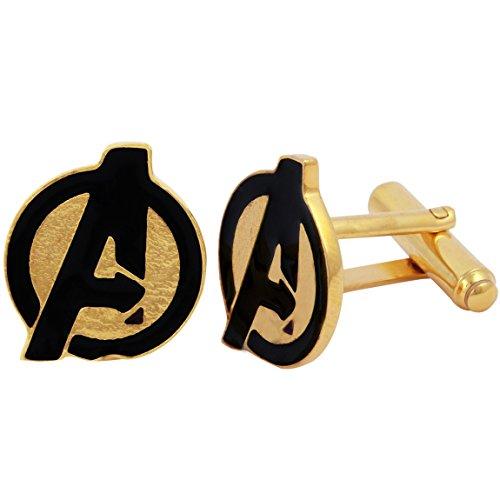 Logo Cufflinks Set - Fadkart Luxury Designe Avengers Logo Captain America Cufflinks Wedding Cufflinks Gifts Set for Men (Gold)