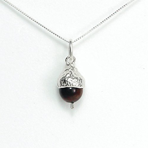 Acorn Necklace Small Sterling Silver and Red Tigers Eye - Gift Boxed, Story Card: Great Potential - Handmade in USA - 20