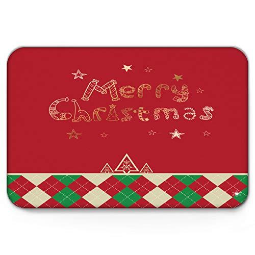 Libaoge Cute Doormat, Xmas Classic Colorful Jolly Red and Green Indoor Non Slip Absorbent Door Mat Front Door Kitchen Bath Mat 16x24in