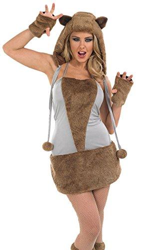 Ladies Sexy Brown Bear Fox Wolf Animal Halloween Fancy Dress Costume Outfit UK 8-30 Plus Size (UK -