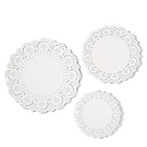 eBoot White Paper Doily Lace Paper Doilies Round Cake Packaging Paper Pad, 6.5 Inch, 8.5 Inch, 10.5 Inch (72 Pieces)