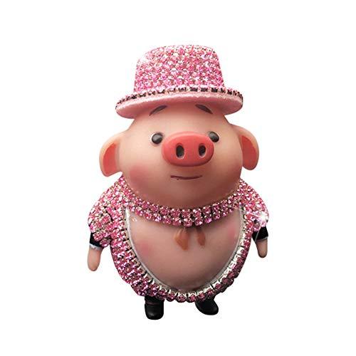 (YUSHHO56T Car Aroma Clip Interior Decoration Car Clip Cartoon Rhinestone Pig Car Air Vent Freshener Perfume Aroma Clip Diffuser Decor - Pink)
