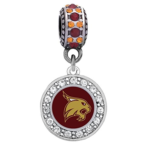 Final Touch Gifts Texas State University Crystal Logo Charm Fits Most Bracelet Lines Including Pandora, Chamilia, Troll, Biagi, Zable, Kera, Personality, Reflections, Silverado and More (Bead Silverado Charm)