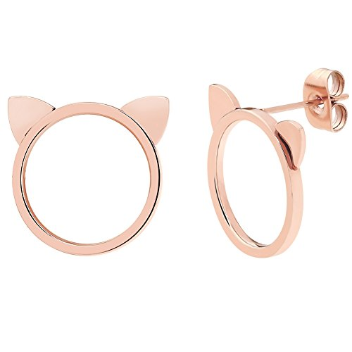 ELBLUVF 18k Rose Gold Plated Stainless Steel Cat Ears Earrings Cat Stud Earrings For Women - Rose Gold Cat