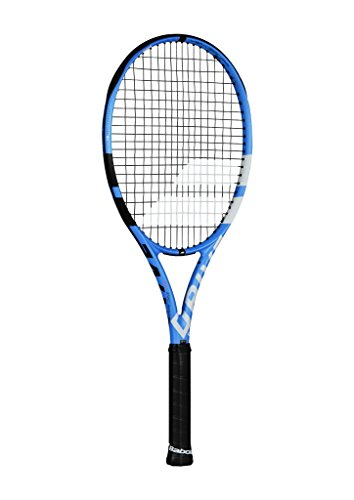 Babolat Pure Drive Tour Plus + Extended Black/Blue/White Tennis Racquet (4 5/8″ Grip) Strung with White Color String (Best Racket for Control and Spin)