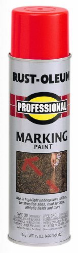 (Rust-Oleum 2564838 Professional Inverted Marking Spray Paint, 15 oz, Safety Red)