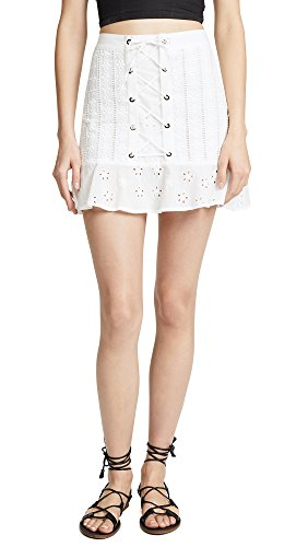 Embroidered Poplin Skirt - For Love & Lemons Women's Hermosa Eyelet Miniskirt, White, Large