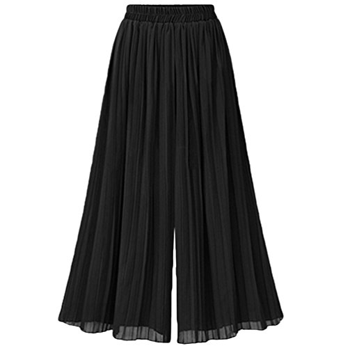 Heheja Femmes Taille Elastique Taille Haute Maxi lgant Plisse Jupe Noir