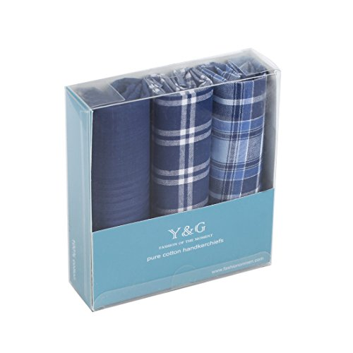 YEA0103 Blue Plaid Pure Cotton Christmas Gift Idea 3 Pack Handkercheifs Set Classy For Work-Utility By Y&G