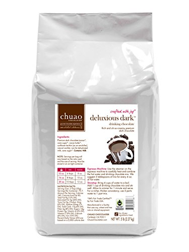 Drinking Chocolate- Chuao Drinking Chocolate (5 lb. Bulk Bag) - Fair Trade Certified Cacao - Voted Best Chocolate in the U.S. by Food & Wine Magazine - Gluten Free and Kosher (Deluxious Dark)