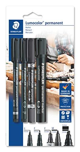Staedtler Lumocolor permanent 60 BK Juego de rotuladores permanentes con diferentes puntas, 4 unidades en blister