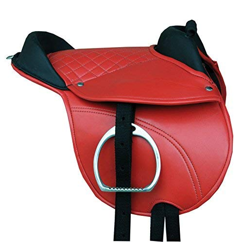 'Pony Saddle Shetland Pony Saddle Pony Riding Cushion Hide Covered Pony Pad Complete Set with Accessories Red 10 Pony Saddle Set Suitable Reitpad also for Wood Horses Cub Saddle Set Reitsport Amesbichler