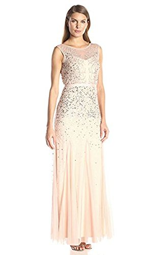 Adrianna Papell Women's Long Beaded Gown with Illusion Neckline, Blush, 12