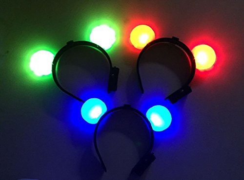 12 PC Light Up LED Mouse Ears and Polka Dot Bows Headbands - Various Styles by Mammoth Sales (Round Mouse Ears)]()