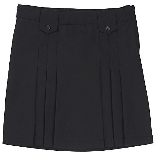 French Toast Big Girls' Front Pleated Skirt with Tabs, Black, 12 ()