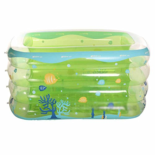LQQGXL,Bath Infant and toddler inflatable pool Thicker long side plus baby puzzle pool Inflatable bathtub ( Color : Green , Size : 143cm ) by LQQGXL