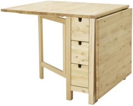 IKEA Norte mesa plegable con cajones maciza de abedul: Amazon.es ...