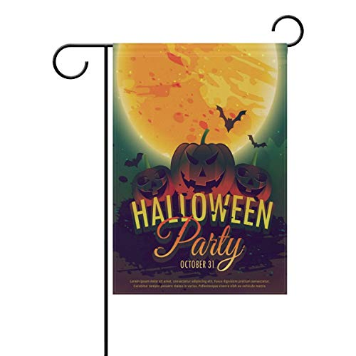 Andrea Back Halloween Party Invitation Background Double Sided Polyester Garden Flag Banner 12 x 18 inch Halloween Decorative Yard Flag for Party Home Outdoor Decor