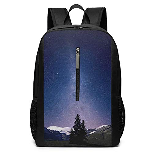 Large Laptop Backpack, Waterproof Business Carry On Backpack for Men Women, College School Durable Computer Bookbag,Water Bottle Pockets Daypack - Milky-Way-Mountain-Scene-Ski