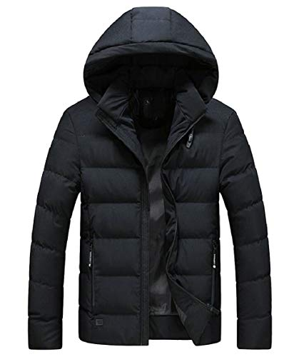security Men's Fashion Hooded Thicken Wadded Jacket Warm Cotton Padded Down Coat Black