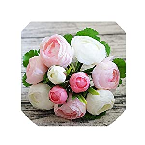 crystal004 Beautiful Heads Artificial Rose Flowers Silk Bouquet Bridal Wedding Living Room Decor Bouquet for Household Vase Decor DIY P15,A1 38
