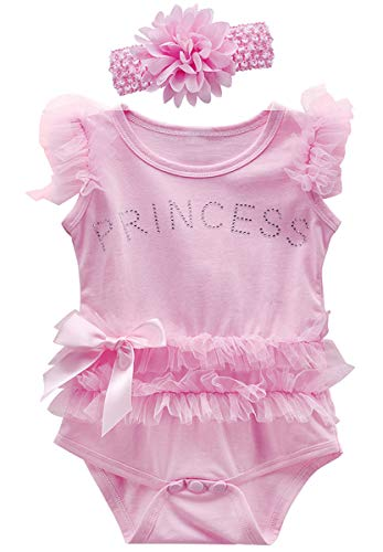 (COSLAND Baby Girls' Lace Tutu Dress Princess Bodysuit with Headband (12-18 Months, Pink))