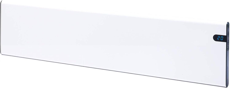 Bendex LUX ECO - Radiador eléctrico (convector de pared, 1000 W, 200 mm, elegante y fino, bajo consumo, pantalla LED, control de temperatura de día y de noche integrado)