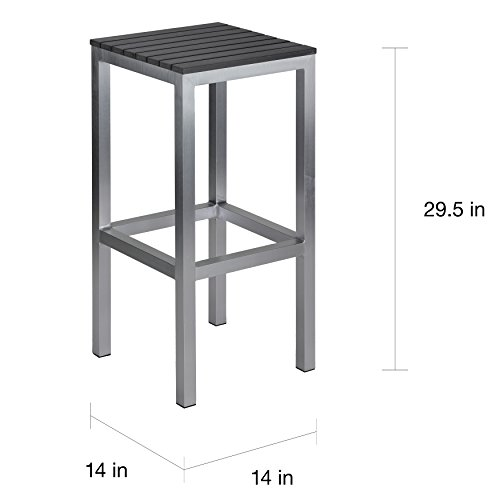 - Svitlife Linde Brushed Aluminium Slate Grey Polywood/Aluminum Outdoor Backless Barstool Bar Backless Barstool Seat Vinyl Stool Replacement Cover Office Leather Top