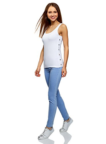 Algodón 1000n De Con Blanco Oodji Mujer Ojales Sin Etiqueta Ultra Tirantes Camiseta wSPt08xptq
