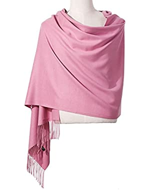Womens Pashmina Shawl Wrap Scarf - Ohayomi Solid Color Cashmere (21 Colors)