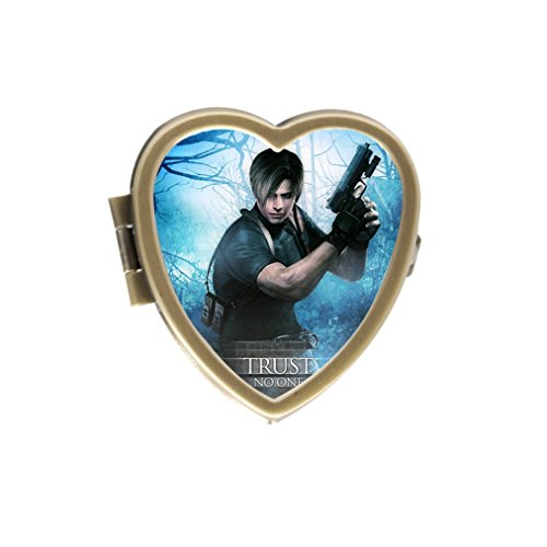 Custom Resident Evil Cover Unique Style Bronze Stainless Steel Heart-shaped Pill Box Vitamins Organizer