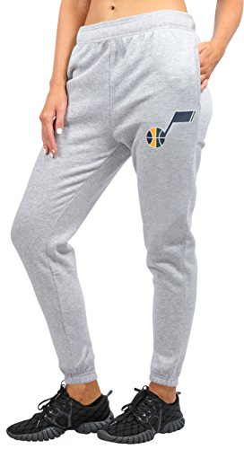 NBA Utah Jazz Women's Jogger Pants Active Logo Fleece Sweatpants, Large, Gray