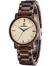 Wood Watch for Men Quartz Mens Watch Engraved Wooden...