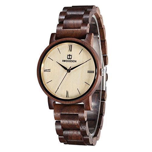 IWOODEN Wood Watch for Men Quartz Mens Watch Engraved Wooden Personlized Wrist Watch with Watch Gift Case for Men (Without Engraved) by IWOODEN