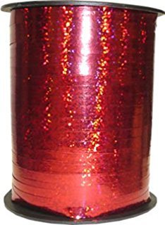 KRAFTZ ® - 500 Yards (458m approx.) 5mm Holographic Ribbon Red Shiny Glitter for Packing Art & Craft Party Decoration