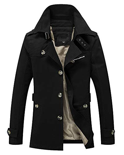 AnyuA Warm Slim Mens Multi Long Jacket Fit Military Outerwear Black Coats Pockets Lightweight Sleeve rZr1qgBw