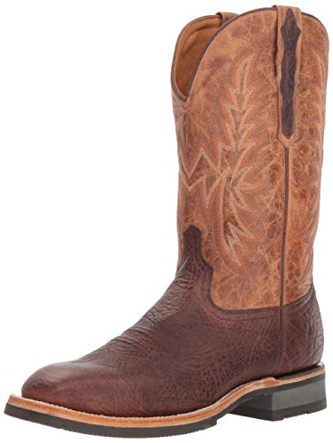 Lucchese Bootmaker Men's Rudy Western Boot, Chocolate/Peanut, 12 D US