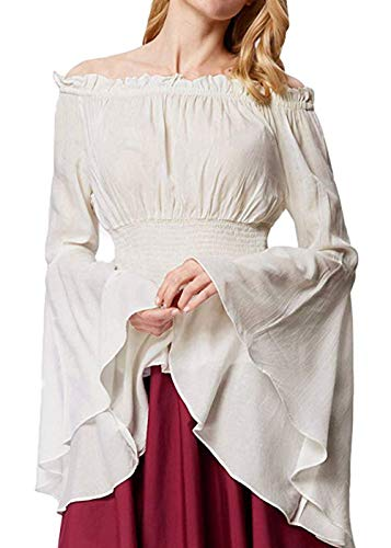 Womens Renaissance Blouse Off Shoulder Trumpet Sleeve Peasant Tops Medieval Victorian Costume (M, White)