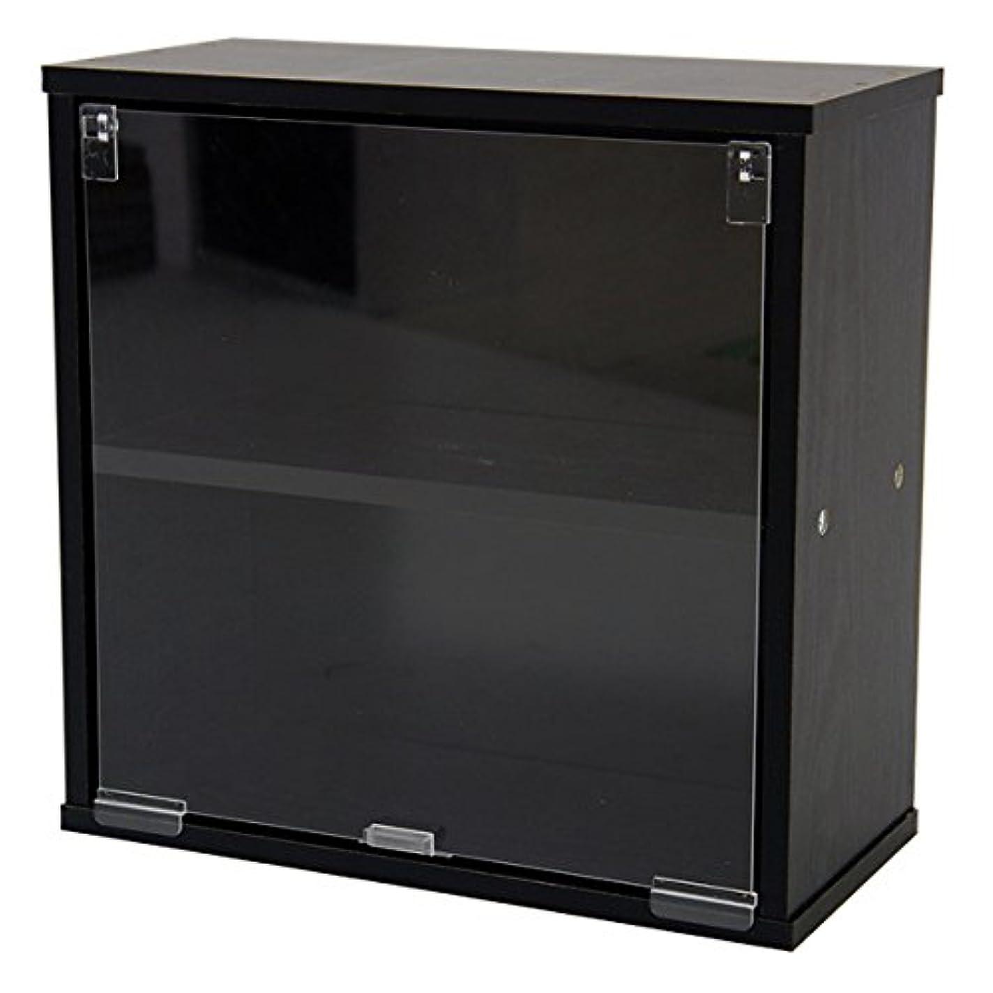 明らかにするモンスターむしゃむしゃキューブボックスα 棚付きアクリル透明扉タイプ/カラーボックス キューブボックス 扉付き ミニ食器棚 コレクションケース (グリーン)