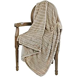 "Bertte Ultra Velvet Plush Super Soft Decorative Stripe Throw Blanket-50""x 60"", Light Beige"