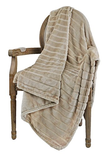 "Bertte Throw Warm 330 GSM Lightweight Luxury Fleece Blanket for Bed Couch, Twin(60""x 80""), Light Beige"