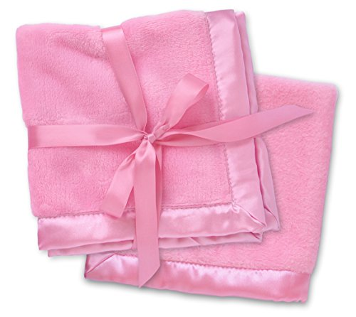 2 Pink Security Blankets, Baby Blankie Small Mini Blanket, 15 Inches x 15 Inches, Set of 2, Satin Trim, 2 ()