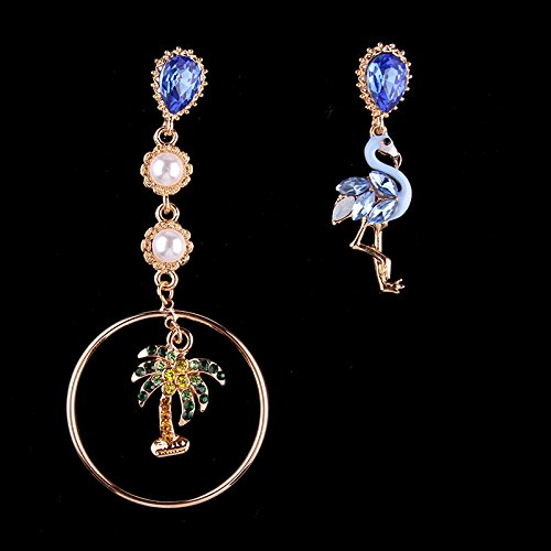 usongs Bohemia asymmetric inlay diamond earrings exaggerated pearl diamond earrings fashion women girls bird coconut tree
