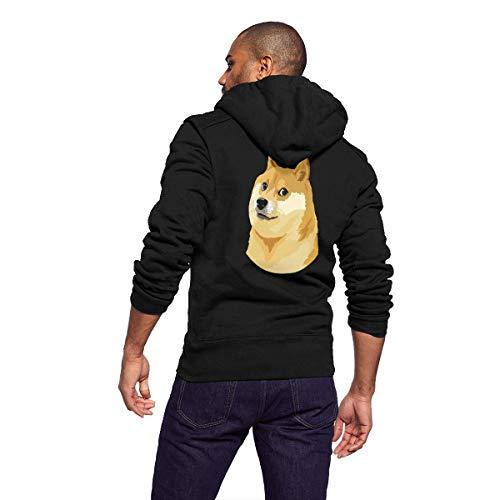 Sportswear Mens Sherpa Lined Fleece Full-Zip Athletic-Fit Hoodie Sweatshirt Pullover Jacket Lightweight Drawstring Coat, Interesting Akita Dog Shiba Inu Funny Doge Face