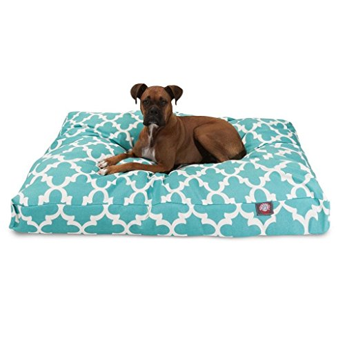 1 Piece Green Trellis Pattern Dog Bed (Large), Elegant Geometric Print Pet Bedding For Puppies, Features Removable Cover, Water & Stain Resistant, Rectangle Shape, Polyester by Unknown