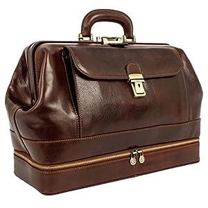 Leather Doctor Bag Purse Medical Briefcase Vintage Brown Key Lock Handbag – Time Resistance